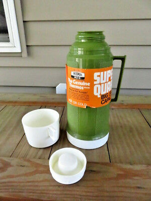 Vtg Retro 1974 Avocado Green THERMOS King Seeley SUPER QUART ~ NEW WITH LABELS