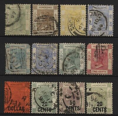 Hong Kong Collection 12 QV Stamps (Inc Chinese Surch) Used