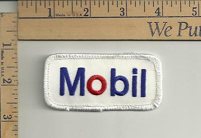 Mobil Patch blue red on white