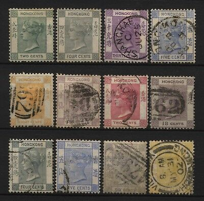 Hong Kong Collection 12 QV Stamps Used / Unused Mounted