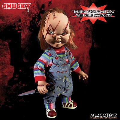 "Child's Play Chucky Talking Scarred Mega Scale Doll with Sound 15"" Mezco"