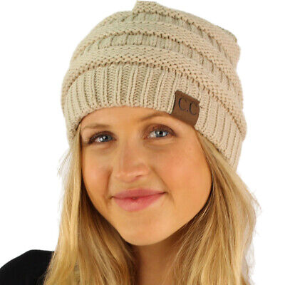 CC Fleeced Fuzzy Lined Unisex Chunky Thick Warm Stretchy Beanie Hat Cap