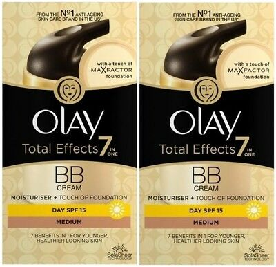 Olay Total Effects BB Cream 7in1 (2 x 50ml) (MEDIUM) Moisturiser + Foundation