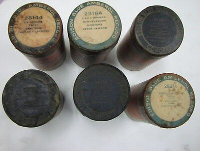 set of 6 Edison Blue Amberol records 4 min cylinder 5 28000 serie 1, 23000