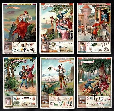 Popular Song & Word Pictures Liebig Card Set 1898 Victorian Music Puzzle Vintage