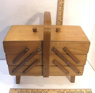 Vintage Wooden Sewing Crafting Jewelry Box Cantilever Accordion W/handle Poland