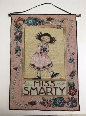 Mary Engelbreit MISS SMARTY Tapestry Wall Hanging Decor 17x24 Wooden Dowel T1