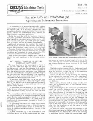 NEW Delta Rockwell Nos. 1170 and 1172 Tenoning Jig Instructions FREE SHIPPING