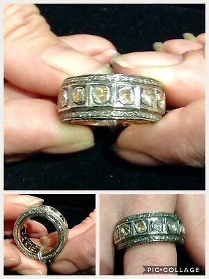Awesome Antique, 18K, Sterling Silver And Rosecut Diamond Band Ring!