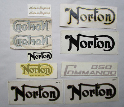 Vintage Norton Motorcycle Decal Sticker Lot Of 9 Commando Atlas Dominator P11