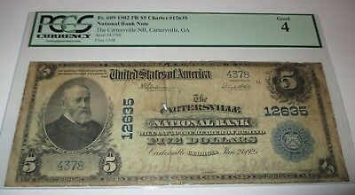 $5 1902 Cartersville Georgia GA National Currency Bank Note Bill Ch. #12635 PCGS