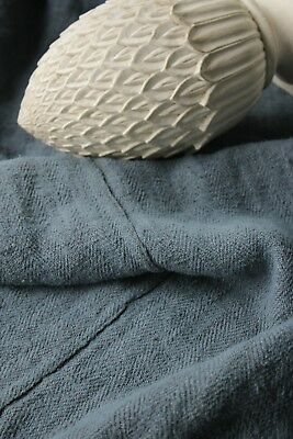 Antique French linen blanket or sheet dyed blue nubby antique textile 36X69in