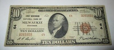 $10 1929 Milwaukee Wisconsin WI National Currency Bank Note Bill Ch. #64 Fine