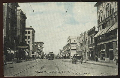 1909 Picture Pc, Main St. North From Fourth, Tulsa, Ok. Storefronts, Trolley +