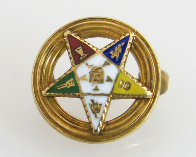 9bc789c71eb0 Antique Estate 14K Yellow Gold Order of Eastern Star Masonic Freemason Lapel  Pin