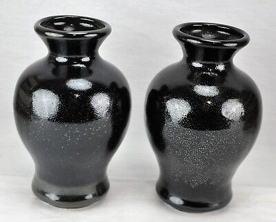 """Pair of Chinese black Flambe vases 7"""" tall, marked on the bottom. (BI#MK/171227)"""