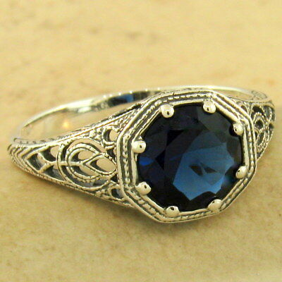 ART DECO SOLITAIRE 925 STERLING SILVER ROYAL BLUE SIM SAPPHIRE RING Sz 8,  #1158