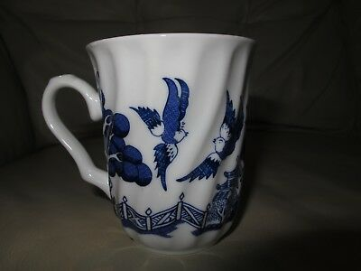 ROYAL CUTHBERTSON Blue Willow Coffee/Tea Cup Swirl Design Porcelain Ceramic