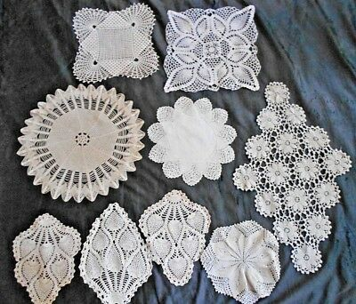 Lot of 9 Vintage Hand Made Crocheted Doilies Ecru Lace Very Good Used Condition