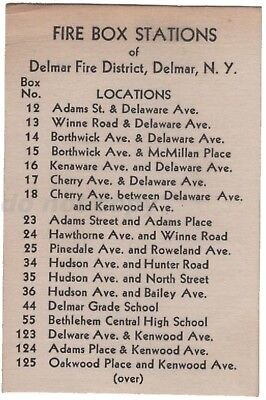 Delmar NY Fire Box Stations Locations Vintage Card Blackout Day Alert Signals