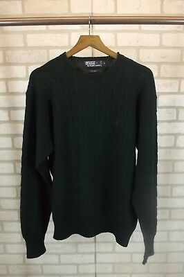 Polo Ralph Lauren Mens Sweater Large 100% Wool Hunter Green Crew Neck Cable Knit