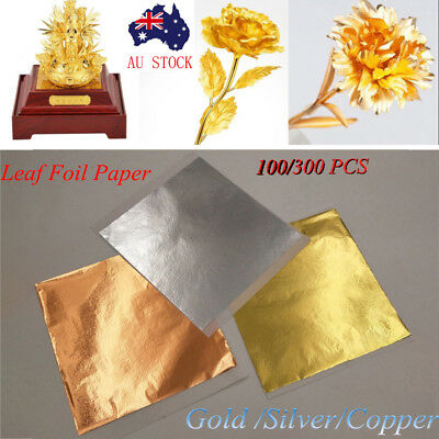 100/300X Gold/Silver/Copper Foil Leaf Paper Food Cake Decor Gilding DIY Craft CW