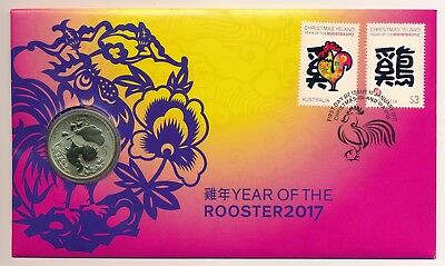 Australia Christmas Island 2017  Lunar New Year Rooster PNC Perth Mint $1 Coin