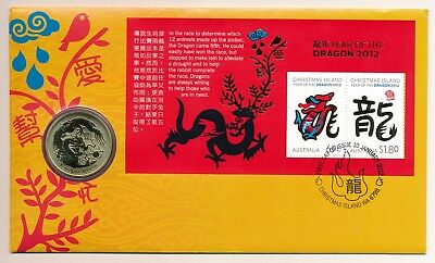 Australia Christmas Island 2012 Lunar Year of the Dragon $1 BU Coin PNC Cover