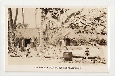 G-739 Hawaii Ancient Hawaiian Family and Grass Shack Real Photo Postcard