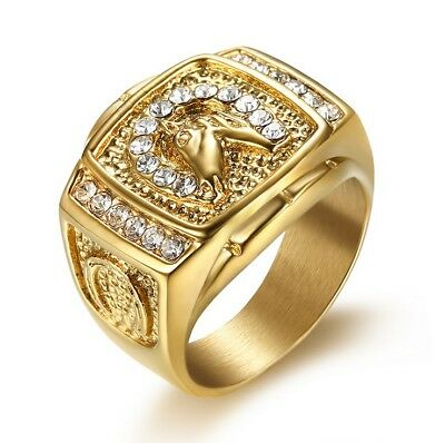 Gold Plated Titanium Racing Horse Head Engraved Men's Diamond Created Ring M58