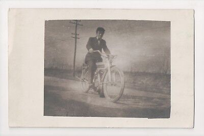 G-842 Motorcycle Man on early Motorcycle Real Photo Youngstown Ohio 1912