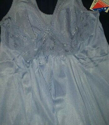 Vintage Kayser Nightdress, blue, long length, with tags, never worn, nightie