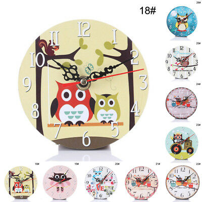 Office Wall Shabby Owl Decor Clock Vintage Design Wooden Creative Children Home
