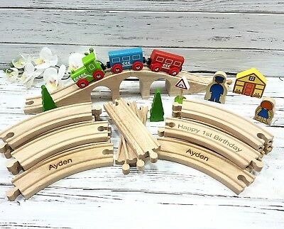 Personalised Engraved Wooden Train Set Toddler Gift in gift box Figure of 8