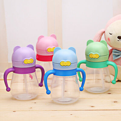 Kids Toddler Baby Water Bottles Cute Cartoon Feeding Drinking Sippy Suction Cup