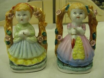 """Pair of Antique Vintage Porcelain Hand Painted Girl Figurines 4"""" Unsigned #PO256"""