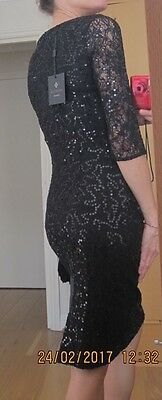 Ariella Black Lace & Sequin Cocktail Dress. Uk 10. Brand New With Tags
