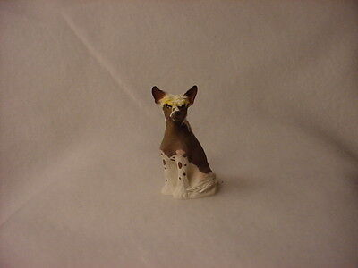 CHINESE CRESTED puppy TiNY DOG Resin Figurine HAND PAINTED MINIATURE Small Mini