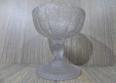 antique EAPG Hobbs Brockunier Frosted Glass Tree of Life w/ Hand Compote as-is