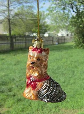 Quality Glass YORKIE YORKSHIRE TERRIER III Glass Dog Breed Christmas Ornament