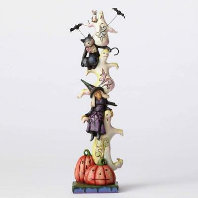 Jim Shore Halloween RAISE YOUR SPIRITS STACKED GHOSTS W/CAT, WITCH 4053865 BNIB