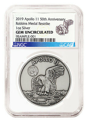 2019 Apollo 11 Robbins Medal 1 Oz Silver-plated Antiqued Ngc Gem Unc Sku55125 Medals Coins & Paper Money