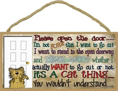 PLEASE OPEN THE DOOR Kitty IT'S A CAT THING SIGN wood NOVELTY WALL PLAQUE kitten
