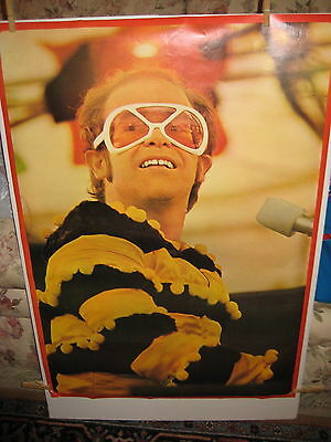 Elton John Poster-1974-Bumble Bee Outfit-Watford Football Benefit-23.5 X33-As Is