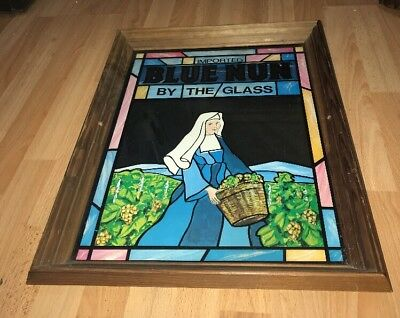 "Vintage Imported Blue Nun Wine ""by The Glass"" Stained Glass Look Bar Mirror Sign"