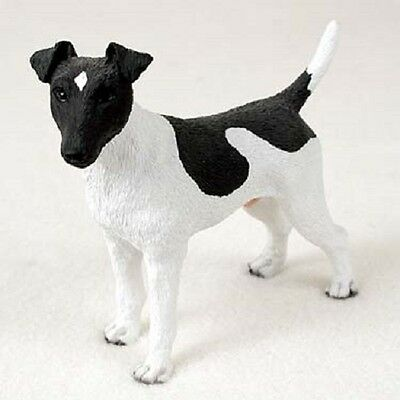 FOX TERRIER black & white Dog HAND PAINTED FIGURINE Resin Statue COLLECTIBLE B&W