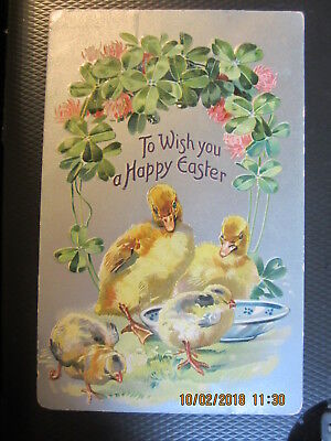 vintage EASTER postcard DUCKS & CHICKS CLOVER TUCK used w/stamp 1908