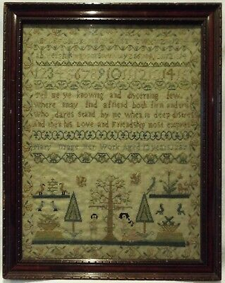 Small Late 18Th Century Adam & Eve, Motif & Verse Sampler By Mary Drage - 1787