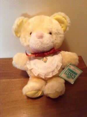 Vintage collectible Hallmark babys first teddy bear bank with tag 1962
