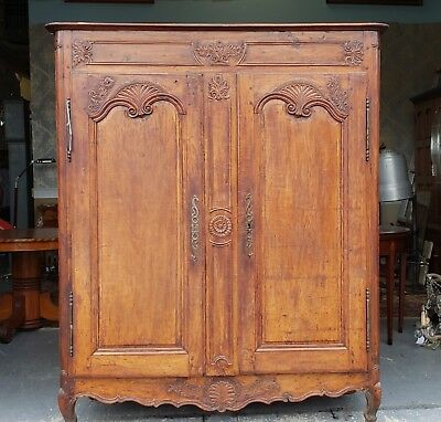 Antique 18th Century Carved Walnut French Louis Style Double Door Armoire c1780